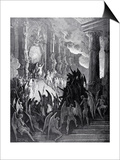 Satan in Council, from Book I of 'Paradise Lost' by John Milton (1608-74) Engraved by Stephane Prints by Gustave Doré