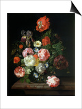 Flower in a Glass Vase Poster by Rachel Ruysch