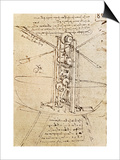 Vertically Standing Bird's-Winged Flying Machine, Fol. 80R from Paris Manuscript B, 1488-90 Posters by  Leonardo da Vinci