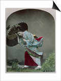 Young Japanese Girl in the Rain, c.1900 Art by  Japanese Photographer