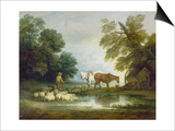 Shepherd by a Stream Posters by Thomas Gainsborough