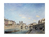 View of the Banks of the Seine and Notre Dame Cathedral in Paris by Johan Barthold Jongkind Giclee Print
