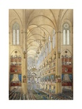 Interior of the Notre Dame Cathedral in Paris during the Coronation of Napoleon I Giclee Print