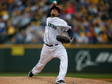 Sep 28, 2014: Seattle, WA - Los Angeles Angels of Anaheim v Seattle Mariners - Felix Hernandez Photographic Print by Otto Greule Jr