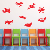 Fly Away Airplanes Light Red Wall Decal