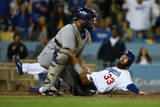 Sep 26, 2014: Los Angeles - Colorado Rockies v Los Angeles Dodgers - Scott Van Slyke, Wilin Rosario Photographic Print by Jeff Gross