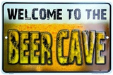 Welcome Beer Cave Targa in metallo