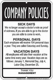 Company Policies Tin Sign