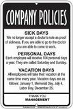 Company Policies Tin Sign