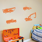 Trucks And Tractors Orange Wall Decal