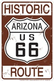 Rt 66 Historic Sepia Tin Sign