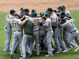 Oakland Athletics v Texas Rangers Photographic Print by Rick Yeatts