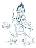 Digital Illustration of Hindu God Agni Depicted as a Three-Headed Figure Riding Ram with Flames Com Photographic Print by Dorling Kindersley
