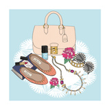 Fashion Essentials. Background with Bag, Sunglasses, Shoes, Jewelery, Makeup and Flowers. Premium Giclee Print by cherry blossom girl