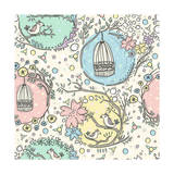 Seamless Pattern with Birdcages, Flowers and Birds. Premium Giclee Print by cherry blossom girl