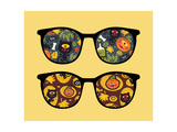 Retro Sunglasses with Halloween Reflection in It. Prints by  panova