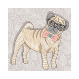 Hipster Pug with Glasses and Bowtie. Cute Puppy Illustration for Children and Kids. Dog Background. Premium Giclee Print by cherry blossom girl
