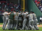 Oakland Athletics v Texas Rangers Photographic Print by Ronald Martinez