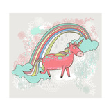 Cute Unicorn Illustration for Children or Kids. Doodle Floral Pattern Background. Prints by cherry blossom girl