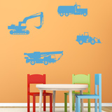 Trucks And Tractors Blue Wall Decal