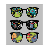 Retro Sunglasses with Monsters Reflection. Posters by  panova