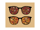 Retro Sunglasses with Autumn Reflection in It. Prints by  panova