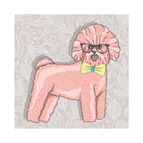 Hipster Bichon with Glasses and Bowtie. Cute Puppy Illustration for Children and Kids. Dog Backgrou Premium Giclee Print by cherry blossom girl