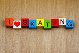Skating - Sign for Ice and Roller Skating and Skateboarding Prints by  EdSamuel