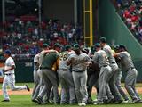 Sep 28, 2014: Arlington, TX - Oakland Athletics v Texas Rangers Photographic Print by Ronald Martinez