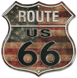 Route 66 Stars And Stripes - Metal Tabela
