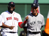 Sep 28, 2014: Boston, MA - New York Yankees v Boston Red Sox - Derek Jeter, David Ortiz Photographic Print by Al Bello