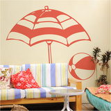 Beach Time Orange Red Wall Decal