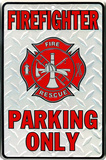 Firefighter Parking Tin Sign