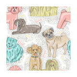 Cute Seamless Vector Pattern with Little Breed Dogs. Bichon, Pug, Spitz, Dachshund, Poodle, Shih Tz Posters by cherry blossom girl