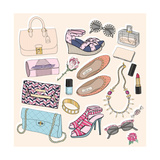 Fashion Accessories Set. Background with Bags, Sunglasses, Shoes, Jewelery, Makeup and Flowers. Premium Giclee Print by cherry blossom girl