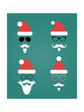 Santa Klaus Fashion Silhouette Set Prints by  OliaFedorovsky