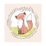 Cute Little Fox Illustration for Children Premium Giclee Print by cherry blossom girl