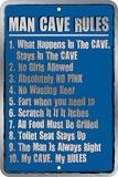 Man Cave Rules Blikkskilt