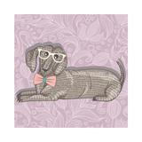 Hipster Dachshund with Glasses and Bowtie. Cute Puppy Illustration for Children and Kids. Dog Backg Premium Giclee Print by cherry blossom girl