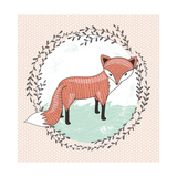 Cute Little Fox Illustration for Children. Premium Giclee Print by cherry blossom girl