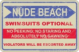 Nude Beach Tin Sign
