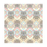 Cute Owl Seamless Pattern with Native Elements Premium Giclee Print by cherry blossom girl