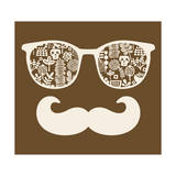 Retro Sunglasses with Reflection for Hipster. Prints by  panova