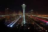 Seattle Skyline Laser Show Photographic Print by Jonkman Photography