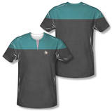 Star Trek Voyager - Command Uniform Costume Tee (Front/Back Print) Shirt