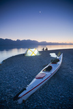 Sunset, Couple Beach Camping with Kayak Photographic Print by Stephen Simpson