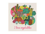 I Love Vegetables - Concept Vector Composition. Bright Tasty Design Element with Tasty Food Prints by  smilewithjul