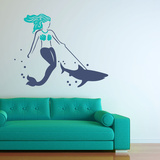 Mermaid's Best Friend Blue Wall Decal