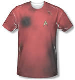 Dead Red dirt marks and phaser burns, star trek red shirt apparel costume tee t-shirt