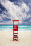 Mexico, Quintana Roo, Yucatan Peninsula, Cancun, Lifeguard Tower on Beach Photographic Print by Bryan Mullennix